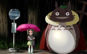 мой сосед тоторо, дождь, остановка, девочка, зонт, зонтик, розовый, ночь