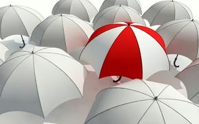 зонт, зонтик, серость, отличие, красный, белый, серый, выделяться из толпы