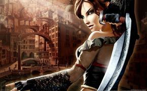 girl, sword, game, fantasy