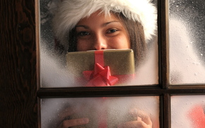 New Year, holiday, gift, girl, window, New Year