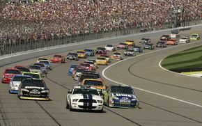NASCAR, traccia, auto, America, tribuna, persone, sfondo