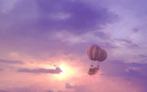 dirigibile, nuvole, sole