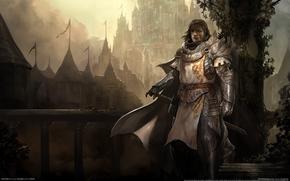 castle, fog, knight, Warrior, sword, armor, weapon, cloak, railing, bridge, ladder