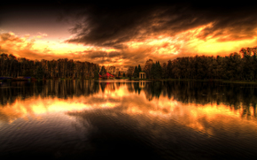 lake, water, Trees, sun, sunset, forest, St. Petersburg, Krestovsky Island