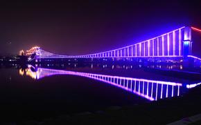 Город, ночь, мост, огни, отражение
