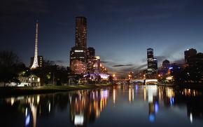 Ciudad, noche, ro, puente, luces, reflexin