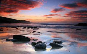 mare, spiaggia, costa, pietre, tramonto, nuvole, nuvole