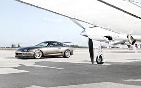 тойота, супра, серебристая, передняя часть, самолёт, тень, крыло, пропеллер, шасси, небо, облака, Toyota