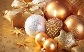 ギフト, 新年, 休日, クリスマス, ろうそく, ボール, 装飾
