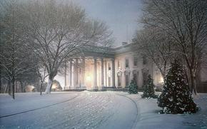 живопись, зима, снег, дом, вилла, усадьба, парк, деревья, ёлки, елки, вечер, свет, освещение, картина, картины, рисунок, рисунки, арт