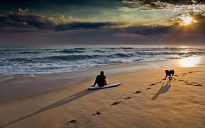 hombre, perro, playa