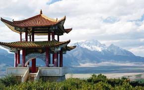 snowy mountains, China, pagoda