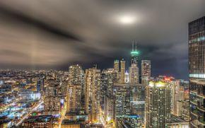 Chicago, semaforo, citt di notte, edificio, Grattacieli
