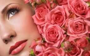 розы, бутоны, лицо, макияж, девушка