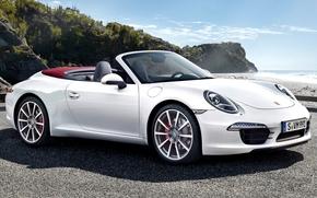 Porsche, karerra con, cabriolet, Supercar, bianco, anteriore, mare, cielo, Porsche