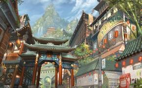 Art, city, Asia, building, mountain, waterfalls, lights, bamboo