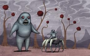 рисунок, пришельцы, монстры, мать, ребенок, краб, прогулка, катание, пасть, клыки
