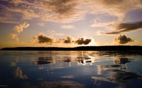 lago, baia, uksalonpya, Ladoga, acqua, cielo, nuvole, alba, riflessione