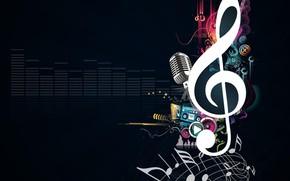 musica, microfono, chiave di violino