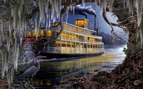 fiume, nave, airone, Arte