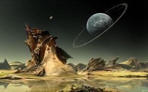 Rocks, lago, acqua, pianeta, Anello, paesaggio, Stella, Arte