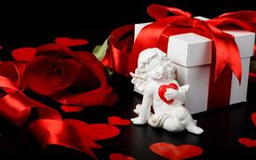 подарок, коробка, лента, роза, сердечки, купидон, День Святого Валентина