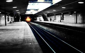 city, metro, subway, Rails, the way, train, light