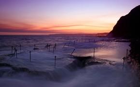 вечер, море, волны, крюки