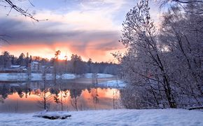 Winter, cold, snow, sky, radiance, houses, horizon, clouds, pond, coast, forest, Trees, landscape