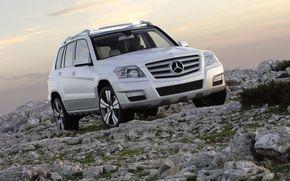 Внедорожник, камни, небо, Mercedes