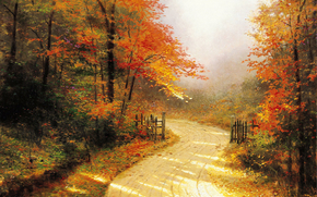Томас Кинкейд, живопись, золотая, осень, дорога, лес