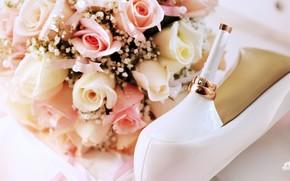 Ftes, vacances, mariage, Anneau, mariage, anneau, Fleurs, chaussures, talon, chaussures