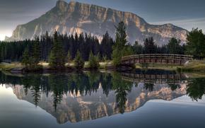 гора, лес, мост, река, отражение