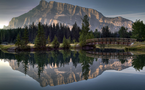 mountain, forest, bridge, river, reflection