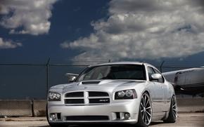 Car, machinery, Tuning, clouds, net, Dodge