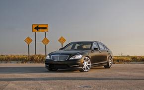 Mercedes Benz, noir, d'extrmit avant, ciel, panneau de signalisation, Mercedes