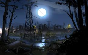 stalker, zone, Ukraine, night, moon, soldier, Pipe, swamp