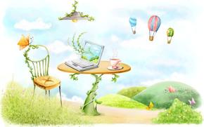 рисунок, стол, стул, ноутбук, лампа, бабочки, кружка, лианы, воздушные шары