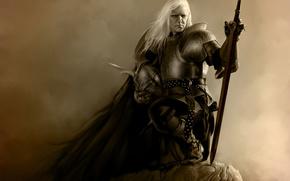 Elric, man, Warrior, helmet, sword, weapon, rock, armor, Art