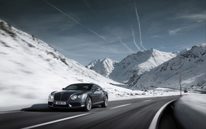 machine, road, rate, nature, Mountains, snow, sky, clouds, Bentley