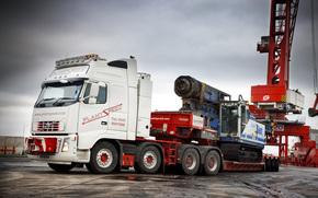 Volvo, tractor, trailer, semitrailer, Niznorpmny Thrall, car, truck, Awning, Dockside crane, United Kingdom, Sweden, Car, transport, Transportation, Volvo