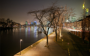 city, evening, Frankfurt, channel, strait, water, ship, wharf, lights, roadway, square, lights, Trees, railroad tracks, home, Built, Skyscrapers, wall, distance, road, life