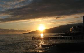 sea, berth, sunset, sun