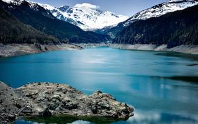 Montagnes, ciel, noyaux, lac, Lac aux yeux bleus
