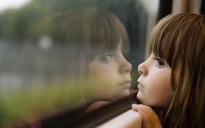 dziecko, dzieci, may, dziewczyny, adny, pikno, smutek, dziecistwo, Okna, odbicie