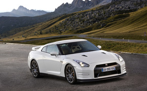 日产, 性质, 机, 跑车, 独轮车, 汽车, 山, 景观, 壁纸, Nissan