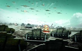 танки, война, поле, самолеты