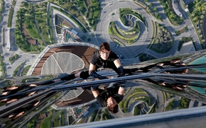 Mission Impossible: protocol Phantom, Tom Cruise, actor, building, reflection