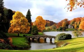 Золотая, осень, мост, Палладиан, озеро, Пантеон, Англия