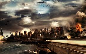 город, война, самолеты, city